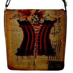 Black Red Corset Vintage Lily Floral Shabby Chic French Art Flap closure messenger bag (Small)