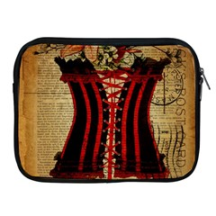 Black Red Corset Vintage Lily Floral Shabby Chic French Art Apple iPad 2/3/4 Zipper Case