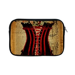 Black Red Corset Vintage Lily Floral Shabby Chic French Art Apple iPad Mini Zipper Case