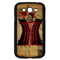Black Red Corset Vintage Lily Floral Shabby Chic French Art Samsung I9082(Galaxy Grand DUOS)(Black)