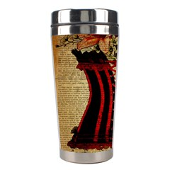 Black Red Corset Vintage Lily Floral Shabby Chic French Art Stainless Steel Travel Tumbler
