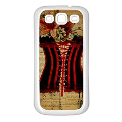 Black Red Corset Vintage Lily Floral Shabby Chic French Art Samsung Galaxy S3 Back Case (White)