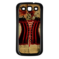 Black Red Corset Vintage Lily Floral Shabby Chic French Art Samsung Galaxy S3 Back Case (Black)