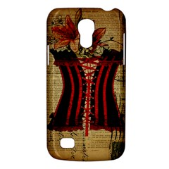 Black Red Corset Vintage Lily Floral Shabby Chic French Art Samsung Galaxy S4 Mini Hardshell Case