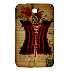 Black Red Corset Vintage Lily Floral Shabby Chic French Art Samsung Galaxy Tab 3 (7 ) P3200 Hardshell Case