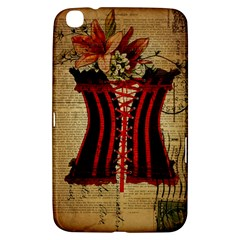 Black Red Corset Vintage Lily Floral Shabby Chic French Art Samsung Galaxy Tab 3 (8 ) T3100 Hardshell Case