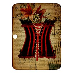 Black Red Corset Vintage Lily Floral Shabby Chic French Art Samsung Galaxy Tab 3 (10.1 ) P5200 Hardshell Case
