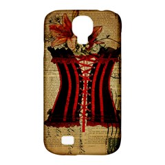 Black Red Corset Vintage Lily Floral Shabby Chic French Art Samsung Galaxy S4 Classic Hardshell Case (PC+Silicone)
