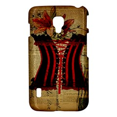 Black Red Corset Vintage Lily Floral Shabby Chic French Art LG P715 (Optimus L7 II) Hardshell Case