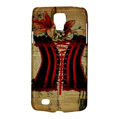 Black Red Corset Vintage Lily Floral Shabby Chic French Art Samsung Galaxy S4 Active (i9295) Hardshell Case
