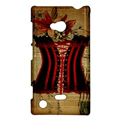 Black Red Corset Vintage Lily Floral Shabby Chic French Art Nokia Lumia 720 Hardshell Case