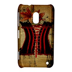 Black Red Corset Vintage Lily Floral Shabby Chic French Art Nokia Lumia 620 Hardshell Case