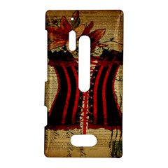 Black Red Corset Vintage Lily Floral Shabby Chic French Art Nokia Lumia 928 Hardshell Case