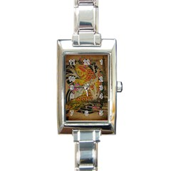 Funky Japanese Tattoo Koi Fish Graphic Art Rectangular Italian Charm Watch