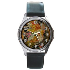 Funky Japanese Tattoo Koi Fish Graphic Art Round Metal Watch (Silver Rim)