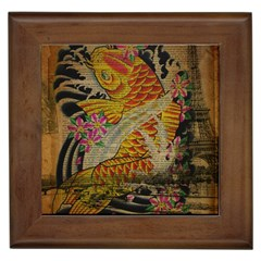 Funky Japanese Tattoo Koi Fish Graphic Art Framed Ceramic Tile