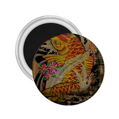 Funky Japanese Tattoo Koi Fish Graphic Art 2.25  Button Magnet
