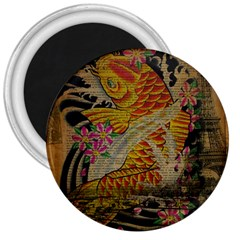 Funky Japanese Tattoo Koi Fish Graphic Art 3  Button Magnet