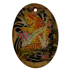 Funky Japanese Tattoo Koi Fish Graphic Art Oval Ornament