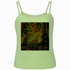Funky Japanese Tattoo Koi Fish Graphic Art Green Spaghetti Tank
