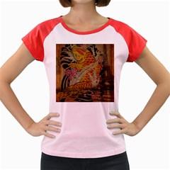 Funky Japanese Tattoo Koi Fish Graphic Art Women s Cap Sleeve T-Shirt (Colored)