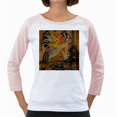 Funky Japanese Tattoo Koi Fish Graphic Art Womens  Long Sleeve Raglan T-shirt (White)