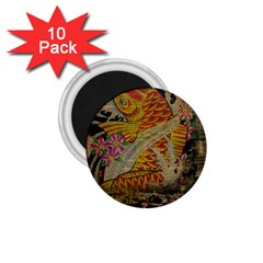 Funky Japanese Tattoo Koi Fish Graphic Art 1 75  Button Magnet (10 Pack)