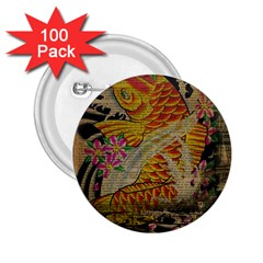 Funky Japanese Tattoo Koi Fish Graphic Art 2 25  Button (100 Pack)