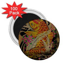Funky Japanese Tattoo Koi Fish Graphic Art 2 25  Button Magnet (100 Pack)