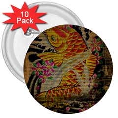 Funky Japanese Tattoo Koi Fish Graphic Art 3  Button (10 Pack)