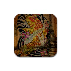 Funky Japanese Tattoo Koi Fish Graphic Art Drink Coasters 4 Pack (Square)