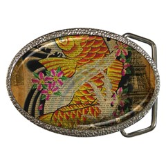 Funky Japanese Tattoo Koi Fish Graphic Art Belt Buckle (oval)