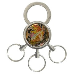 Funky Japanese Tattoo Koi Fish Graphic Art 3-Ring Key Chain