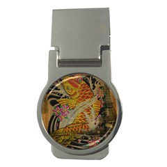 Funky Japanese Tattoo Koi Fish Graphic Art Money Clip (Round)