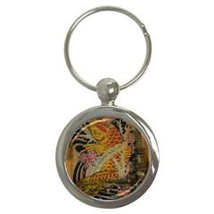 Funky Japanese Tattoo Koi Fish Graphic Art Key Chain (round)