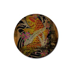 Funky Japanese Tattoo Koi Fish Graphic Art Drink Coasters 4 Pack (Round)