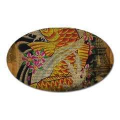Funky Japanese Tattoo Koi Fish Graphic Art Magnet (Oval)