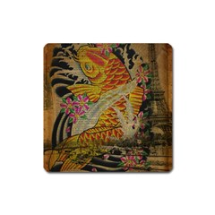 Funky Japanese Tattoo Koi Fish Graphic Art Magnet (square)