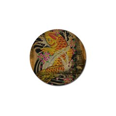 Funky Japanese Tattoo Koi Fish Graphic Art Golf Ball Marker