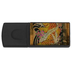 Funky Japanese Tattoo Koi Fish Graphic Art 2GB USB Flash Drive (Rectangle)
