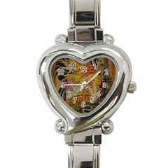 Funky Japanese Tattoo Koi Fish Graphic Art Heart Italian Charm Watch