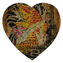 Funky Japanese Tattoo Koi Fish Graphic Art Jigsaw Puzzle (Heart)