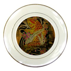 Funky Japanese Tattoo Koi Fish Graphic Art Porcelain Display Plate