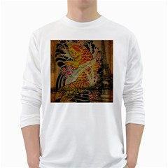 Funky Japanese Tattoo Koi Fish Graphic Art Mens' Long Sleeve T-shirt (White)