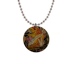 Funky Japanese Tattoo Koi Fish Graphic Art Button Necklace