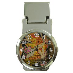 Funky Japanese Tattoo Koi Fish Graphic Art Money Clip with Watch