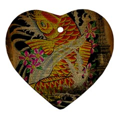 Funky Japanese Tattoo Koi Fish Graphic Art Heart Ornament (two Sides)