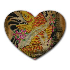 Funky Japanese Tattoo Koi Fish Graphic Art Mouse Pad (Heart)