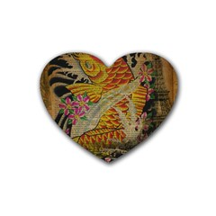 Funky Japanese Tattoo Koi Fish Graphic Art Drink Coasters 4 Pack (heart)