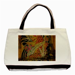 Funky Japanese Tattoo Koi Fish Graphic Art Twin-sided Black Tote Bag